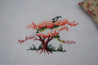 Blossoming tree, cross stitch, work in progress, WIP, Sheila Hudson, blossom tree