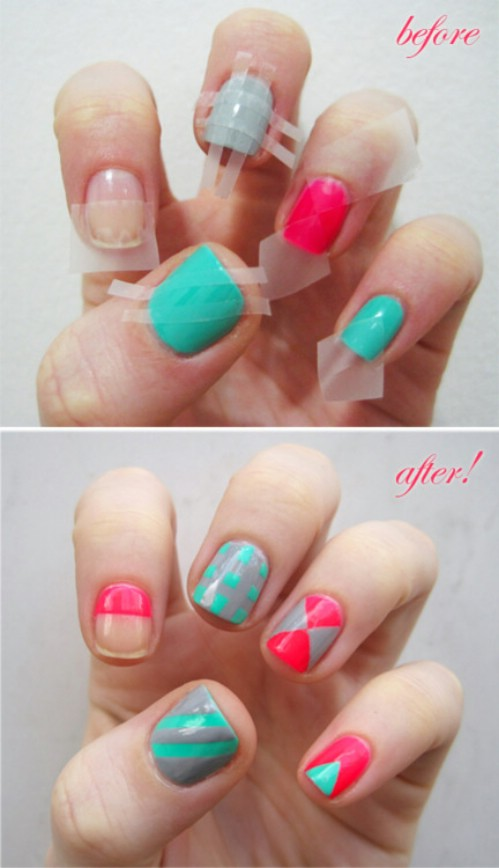 How to do diy nail art at home complete guide for beginners use a cello tape to make nail art designs prinsesfo Choice Image