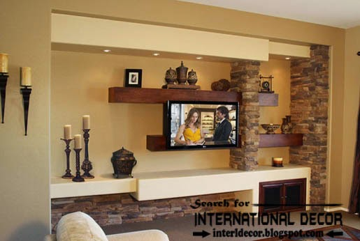 built in shelves and corner shelves of plasterboard, stylish tv shelves