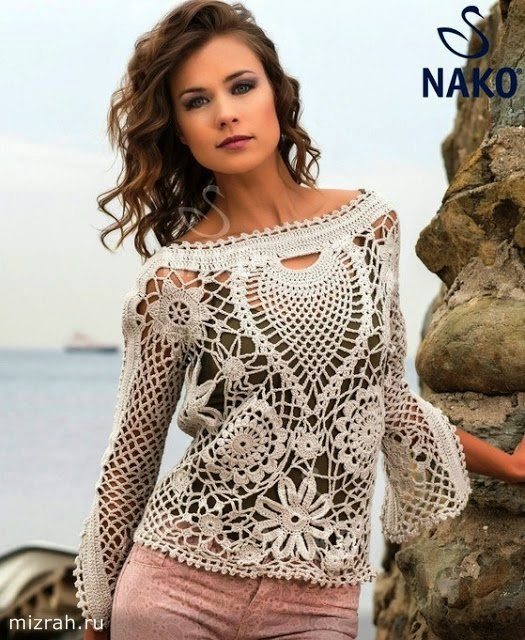 Patrones de Túnica artesanal tejida al crochet