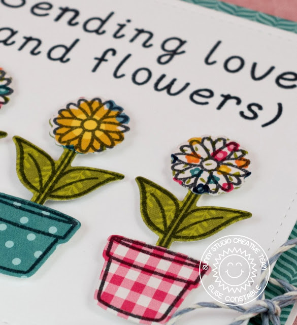 Sunny Studio Stamps: Backyard Bugs & Sweet Script Flower Pot Card by Elise Constable.