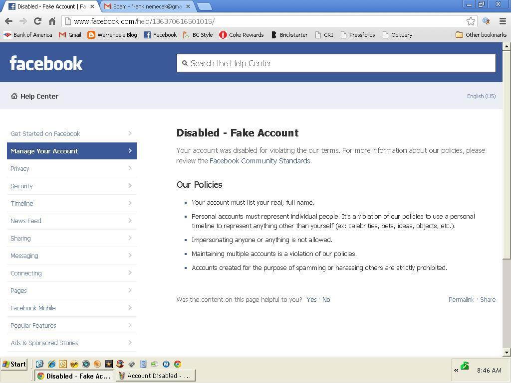 Warrendale detroit blog deactivated facebook account screen shot of my disable facebook account image by some guy claiming to be frank nemecek ccuart Images