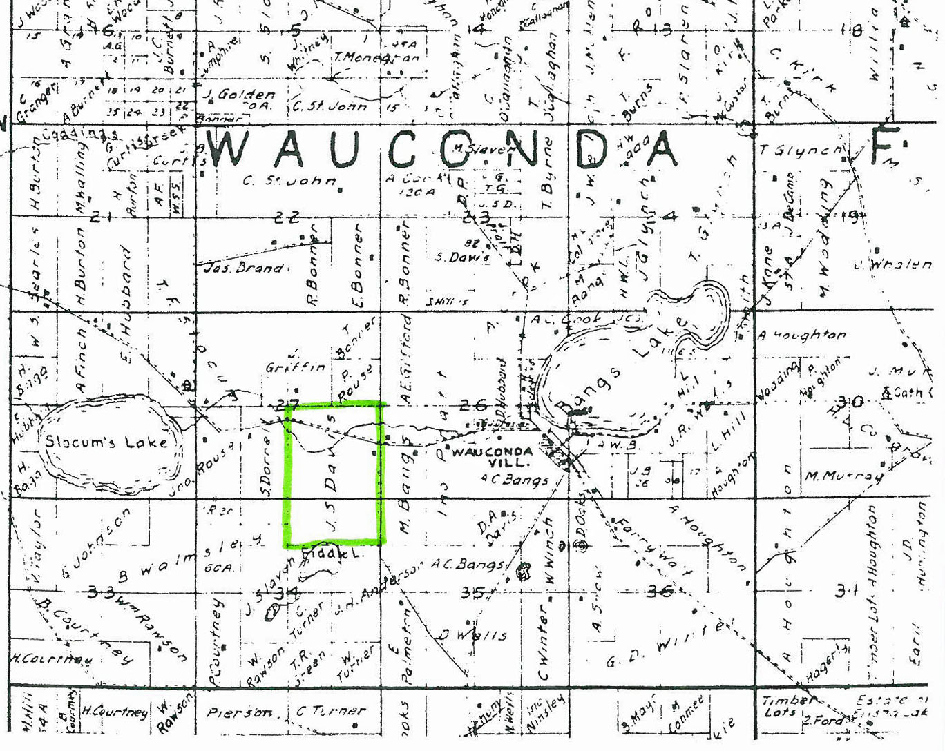 Illinois lake county wauconda - The James S Davis Farm Highlighted Was Located North Of Fiddle Lake In Wauconda Township James Alfred Was Born There In October 1843 L Gast Bro