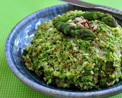 Asparagus Tapenade, a thick, nutty asparagus spread.