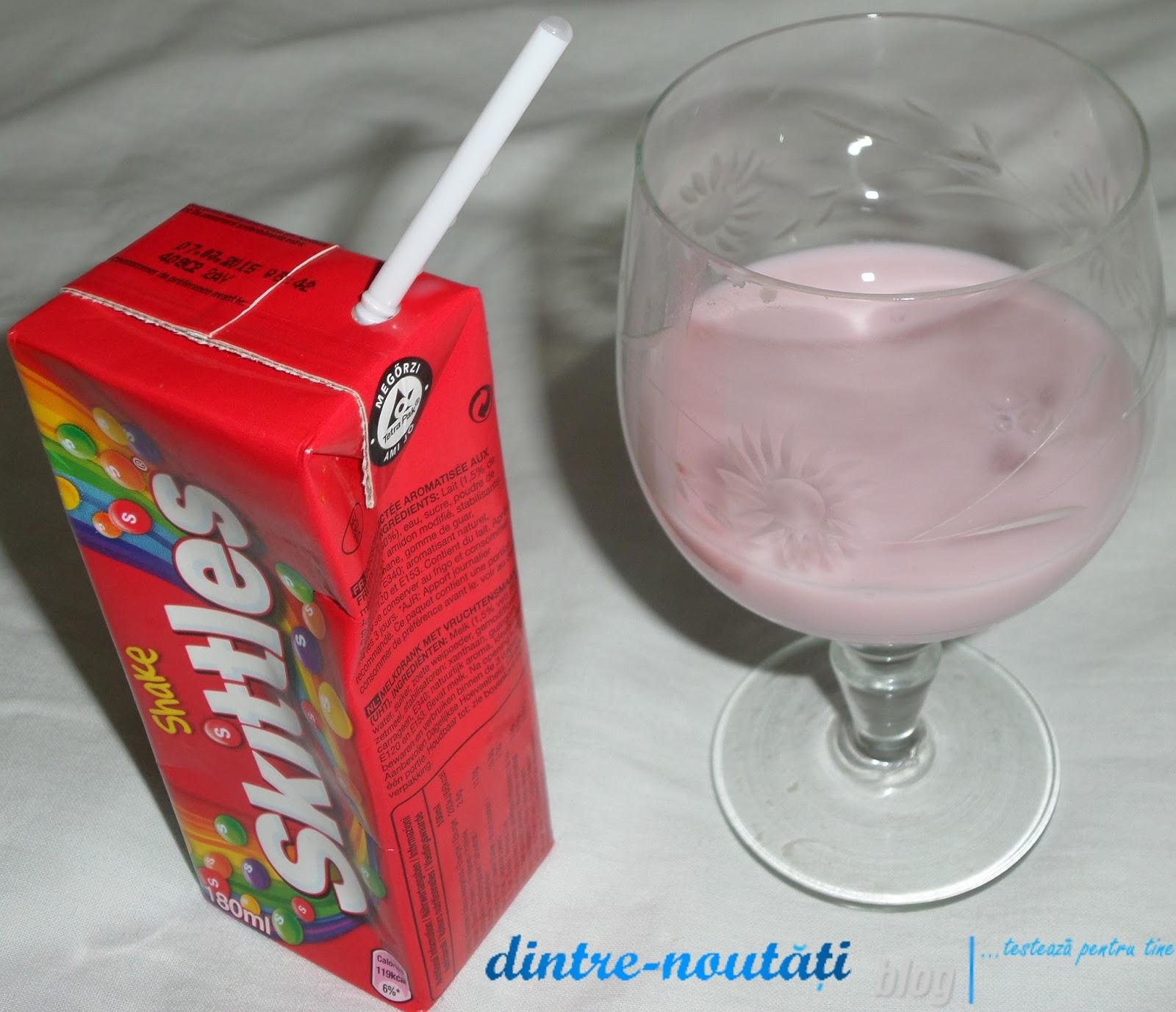 milk shake flavoured drink lapte cu skittles