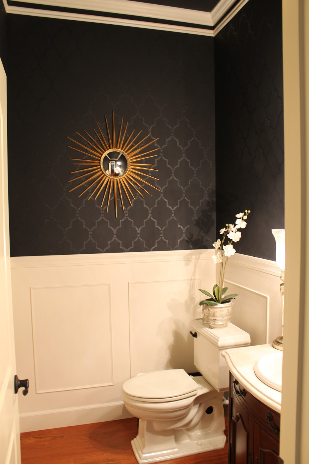 Design your life black powder room for Black wall in room