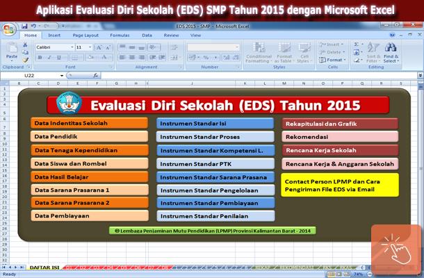 Aplikasi Evaluasi Diri Sekolah (EDS) SMP Tahun 2015 dengan Microsoft Excel