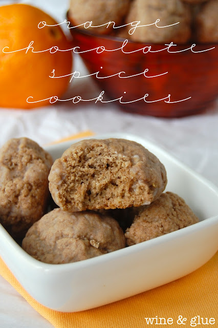 orange chocolate spice cookies in a white dish
