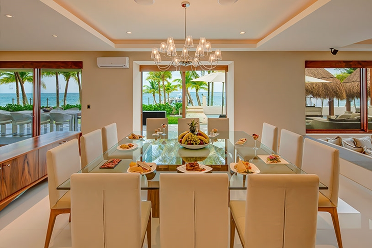 Large dining table in Modern villa on the beach in Mexico