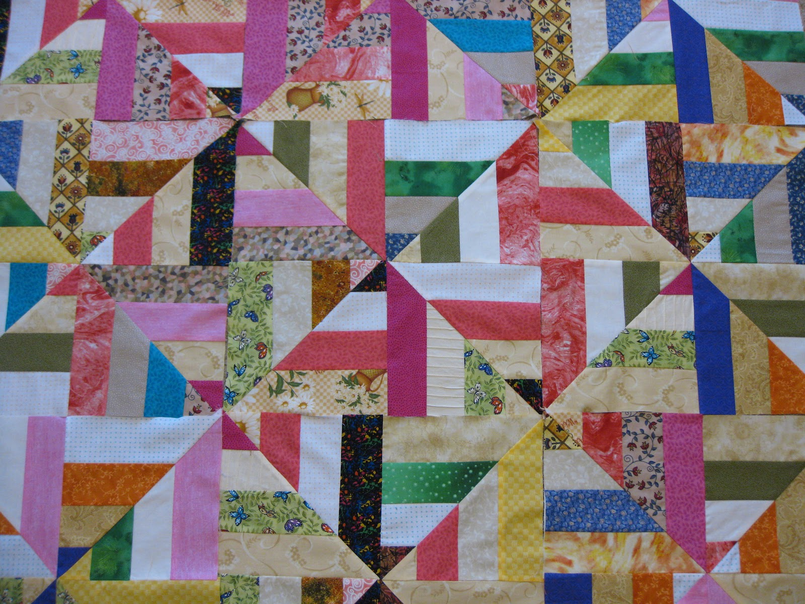 Millies Quilting Rail Fence And Strip Twist Quilt