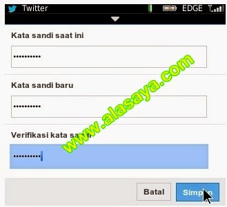 Cara mengganti password twitter