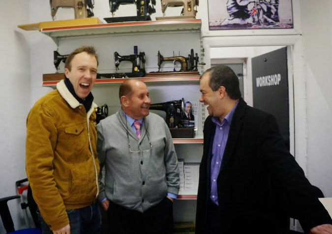 Business Minister Matthew Hancock MP with Colin from Regwell Sewing Machines and Paul Scully