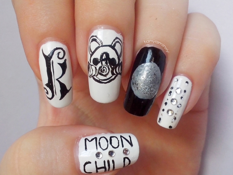Matching Manicures: Black & White Nails - Kerli Moonchild Moonchildren I-Loo Moon Nails