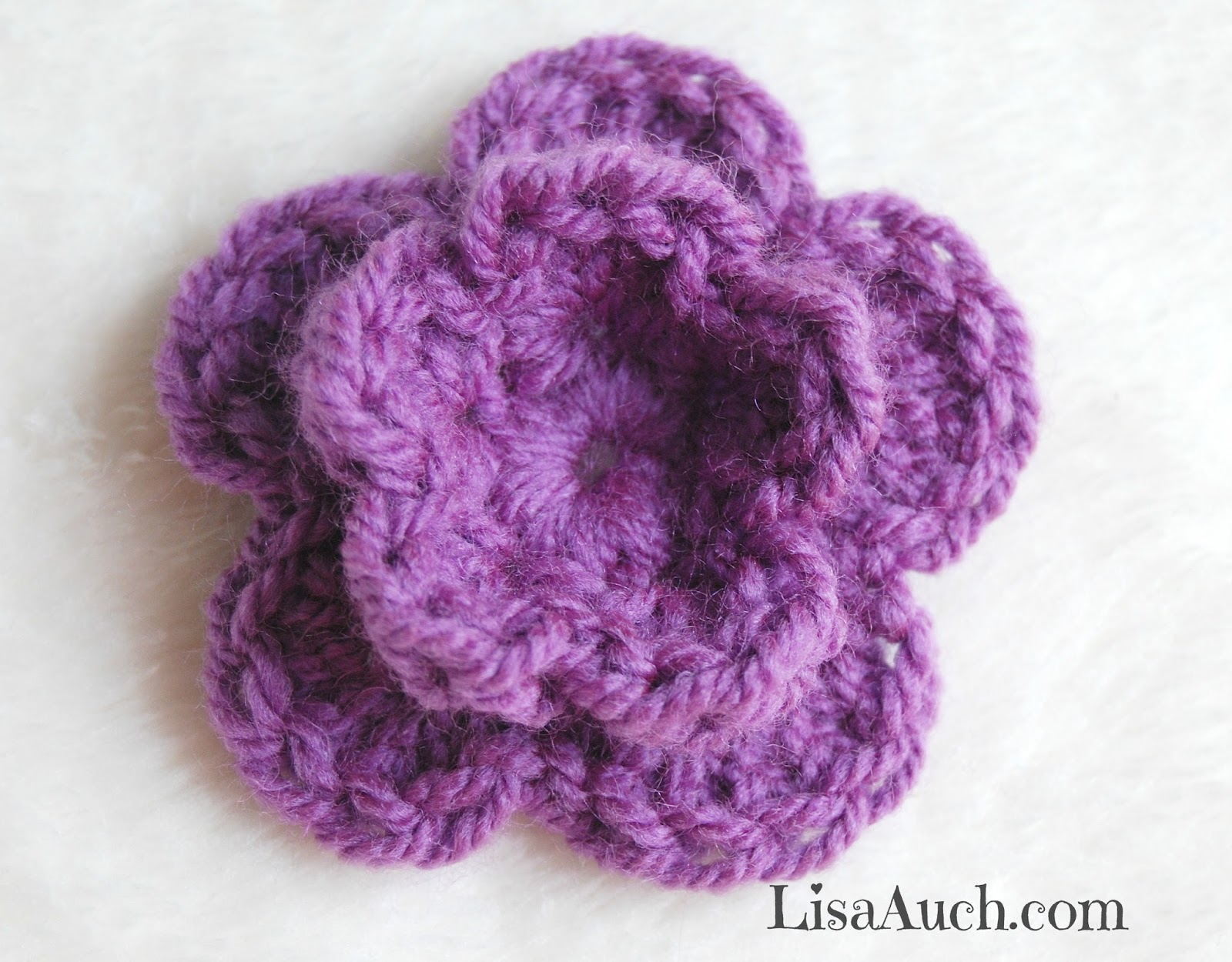 Basic Crochet Flower Patterns Free : How To Crochet a Small Double Layer 3d Flower in 8 Easy ...