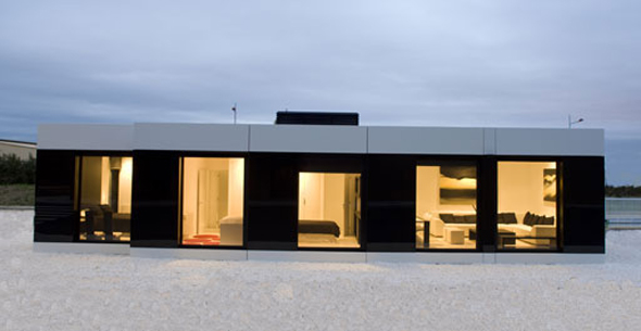 Modern elegant sleek and modern white cube house by a cero for Architecture design modular home