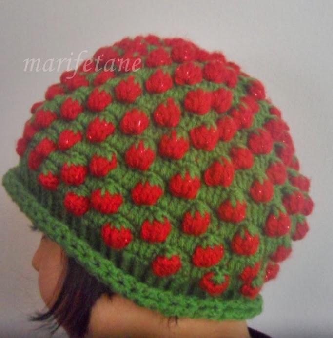 Tiğ İşi Çilek Şapka