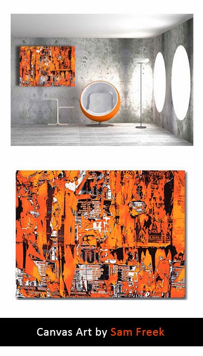 abstract, canvas art, canvas wall art, contemporary, modern, wall art, orange, industrial,