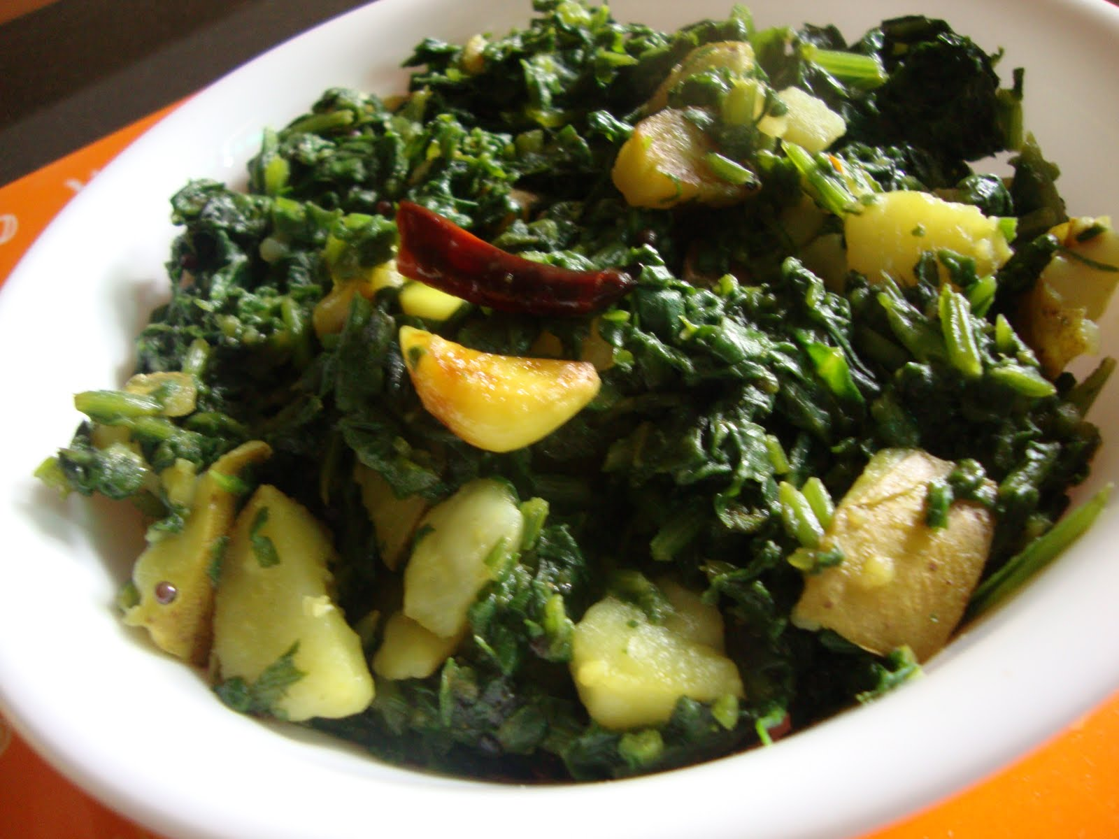 Cooking Delights: Aloo Palak ( Potato Spinach )