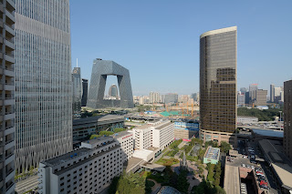 View of CCTV tower from China World Apartments in Beijing