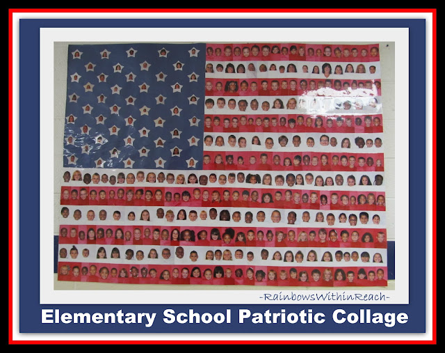 photo of: Flag collage of student pictures, Patriotic project for Memorial Day