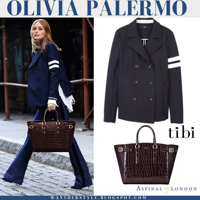 Olivia Palermo with Aspinal of London Marleybone burgundy croc tech tote, blue Tibi coat and blue flared pants style inspiration retro fashion what to wear