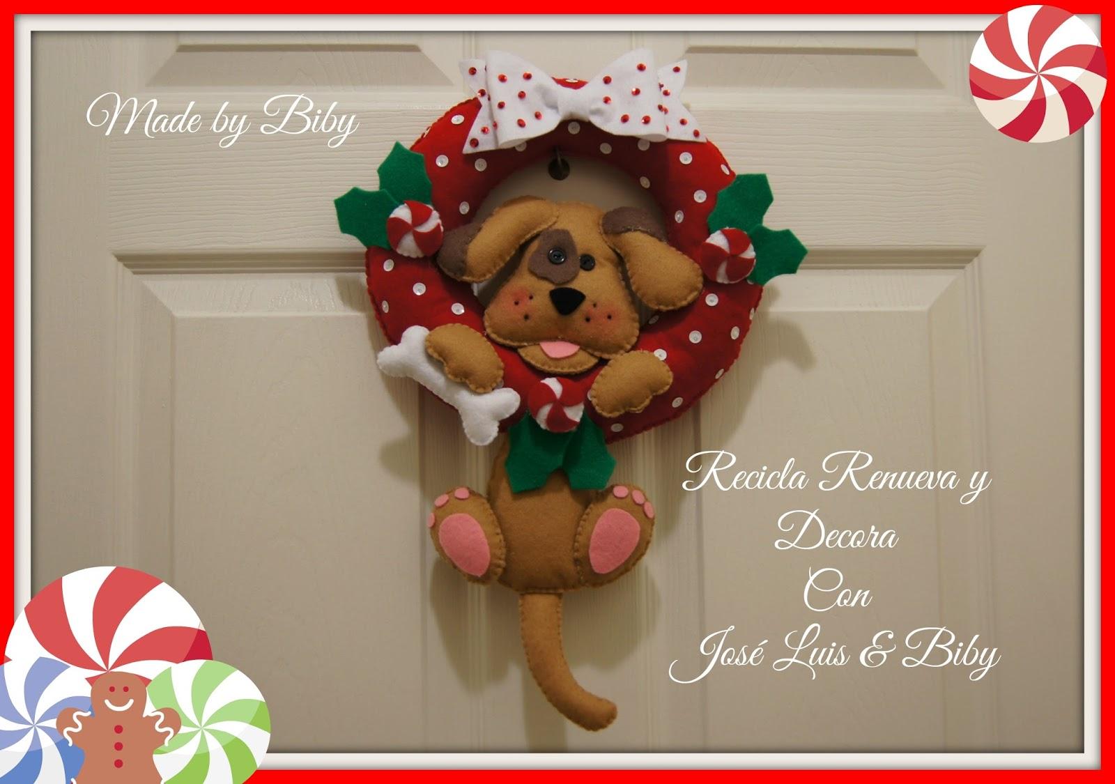 Recicla renueva y decora con jos luis y biby corona y - Coronas navidenas de fieltro ...