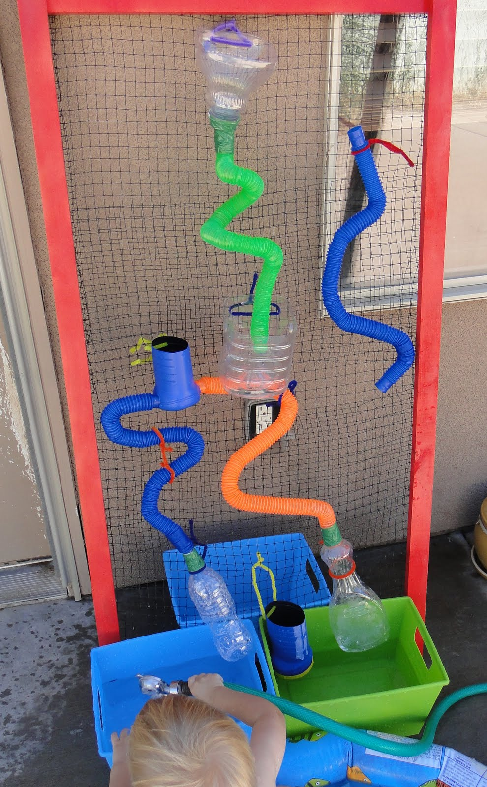 Let the children play ideas for a water wall at preschool for Water wall plans