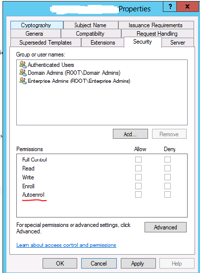Enable auto enrollment to avoid expiring certificates it calls blog the auto enroll permission in my case i picked a normal low privileged service account that connects periodically on the server at least each month for yelopaper Image collections