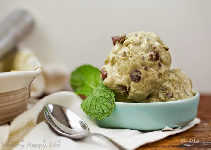 Mint Chocolate Chip Blender Ice Cream, made with Fresh Mint.