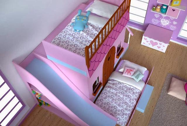 Cama casa en dormitorios infantiles dormitorio casita de - Cama infantil con tobogan ...