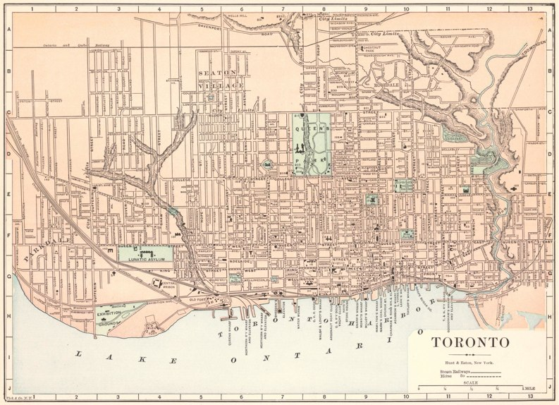 1893 street map of Toronto showing steam-driven railway lines and horse drawn transit routes, by Fisk and Co.