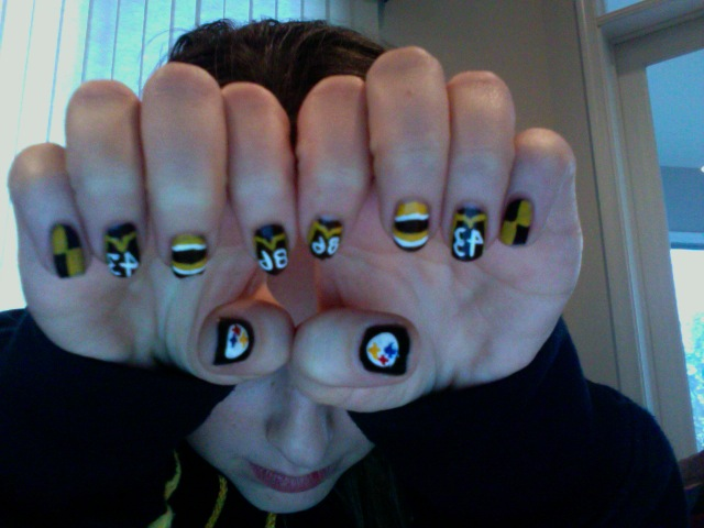 Toothpick Nail Art Steelers Nails