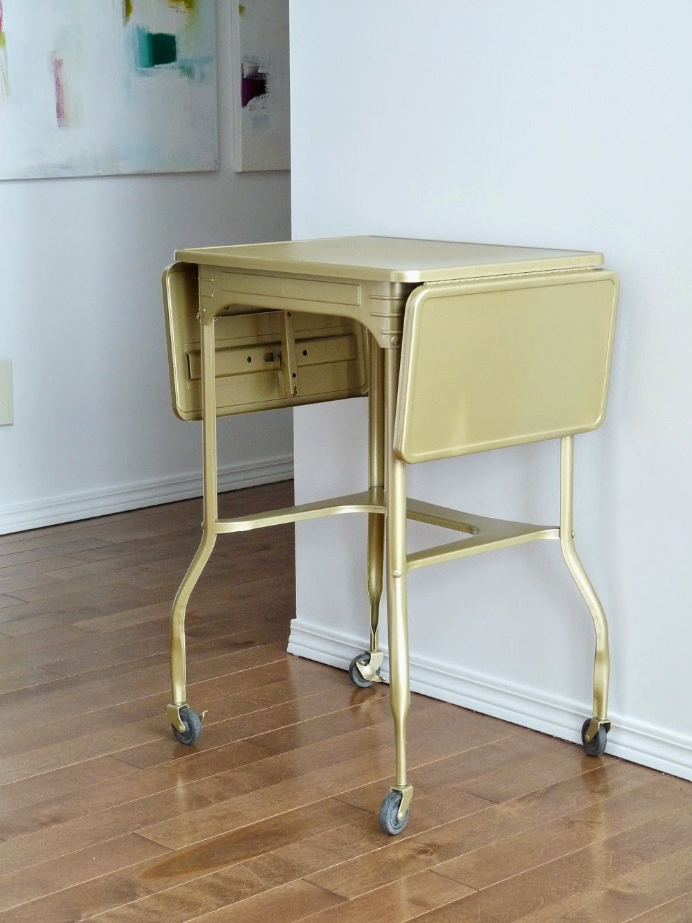 gold typewriter table makeover