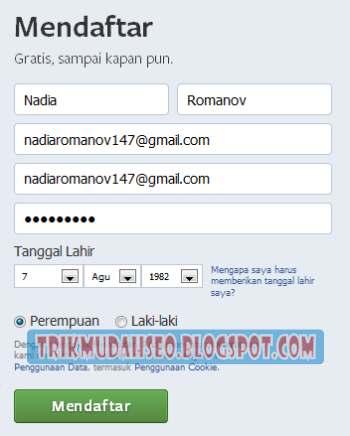 formulir pendaftaran akun baru facebook