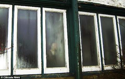 fantasma de mujer en ventana de casa en para demoler