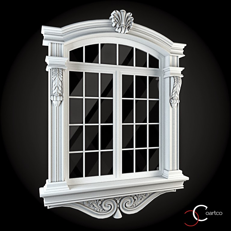 Ornamente Geamuri Exterior, fatade case cu profile decorative polistiren, profile fatada,  Model Cod: WIN-042