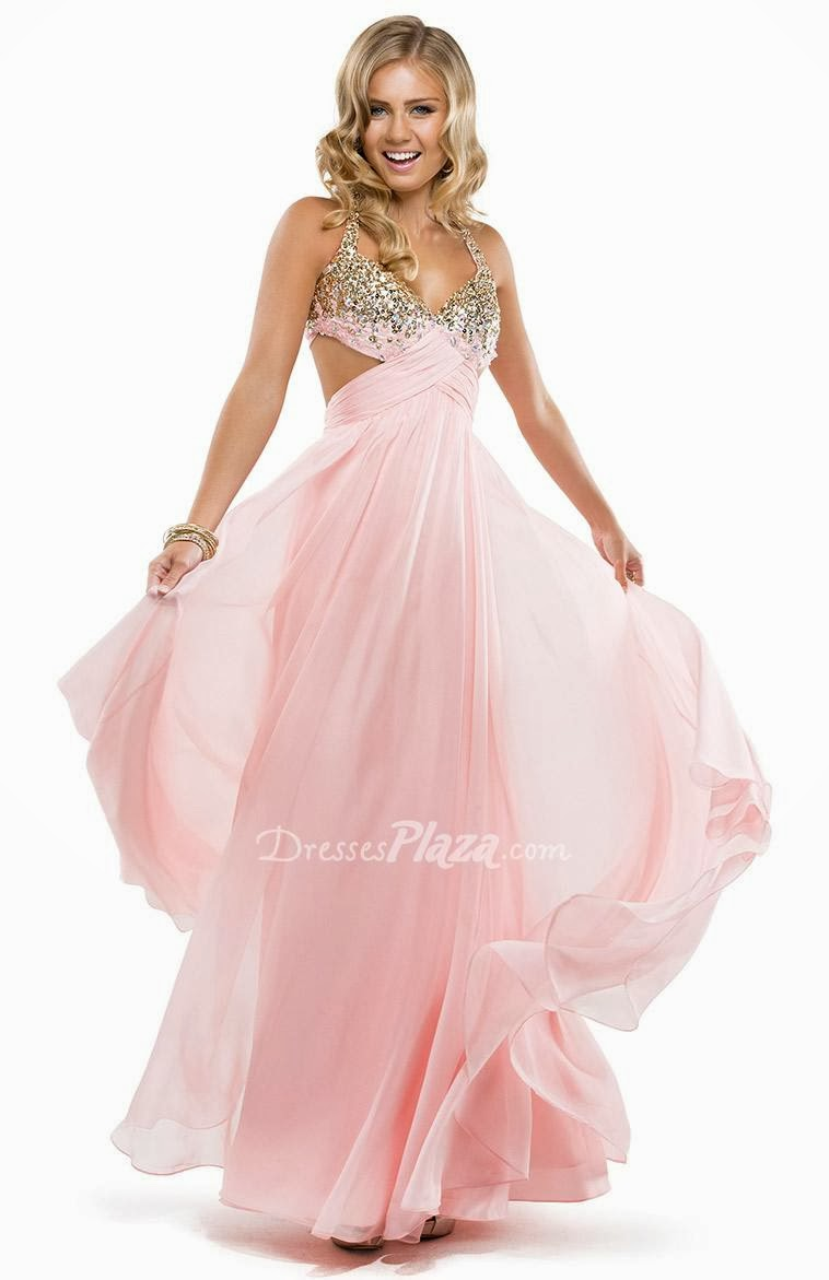 Jeweled Halter Neck Pink Chiffon Prom Dress with Side Cutout