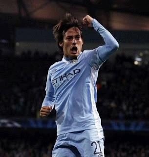 David Silva celebrates a goal for Manchester City