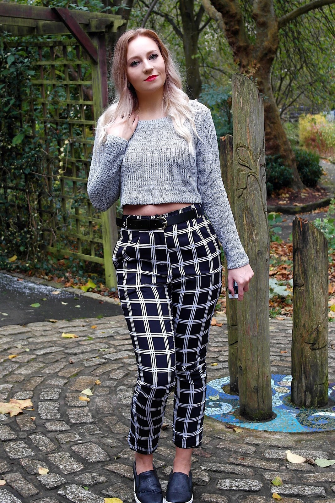 OOTD Missguided checked trousers