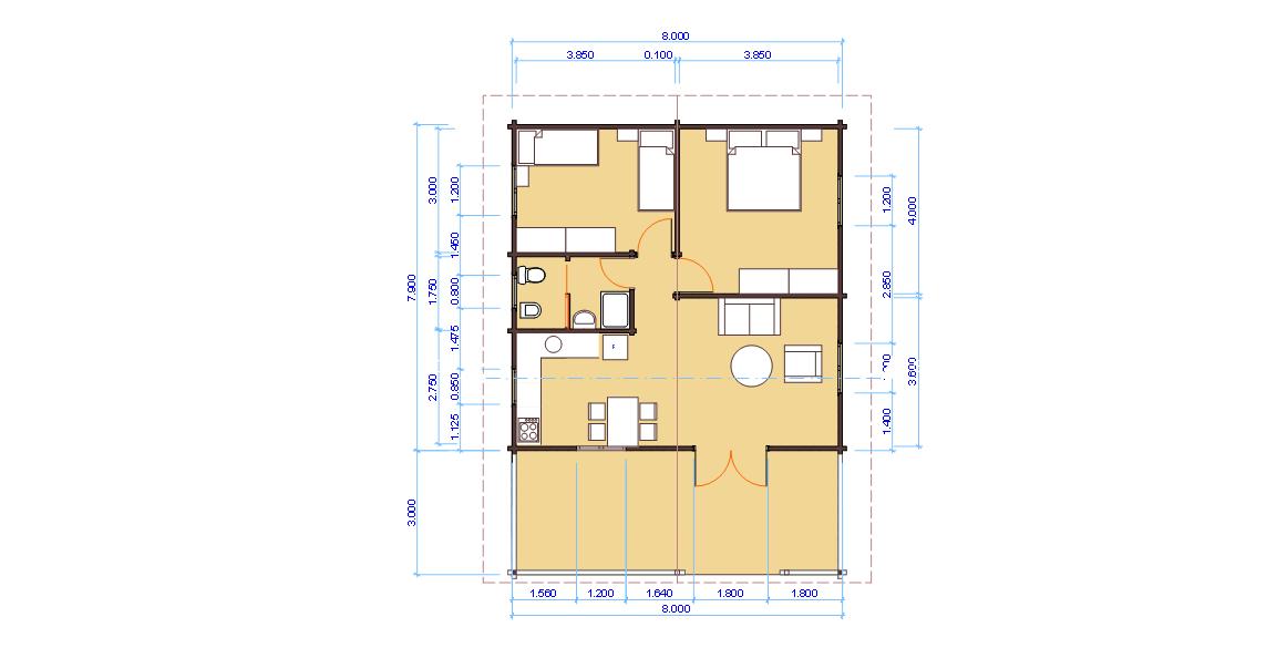 Progetti di case in legno casa blockhaus 63 mq for 2 500 m di progetti di case aperte