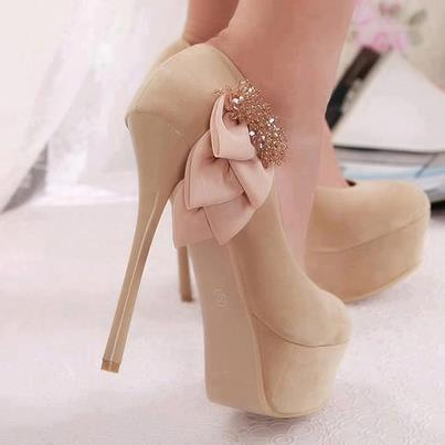 Stylish cream color high heel fashion shoes for ladies