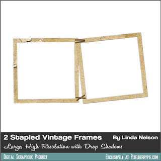 Free Download: 2 Vintage Paper Photo Frames Stapled together (Rusty, wrinkled, old and tattered looking)