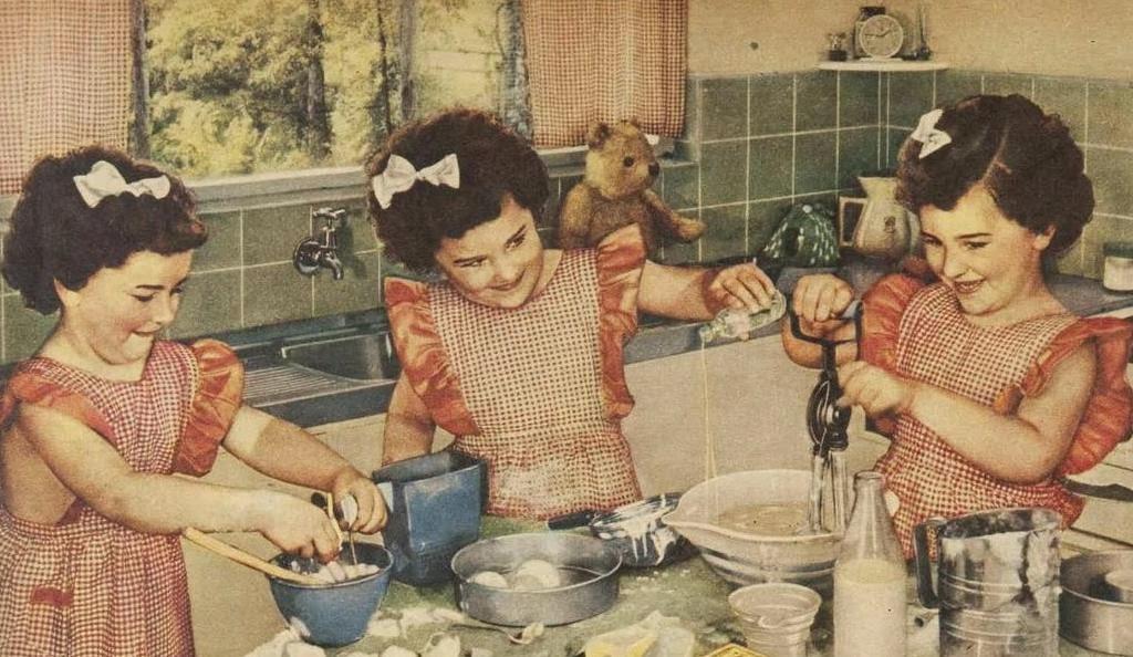 triplets baking, vintage 1950s