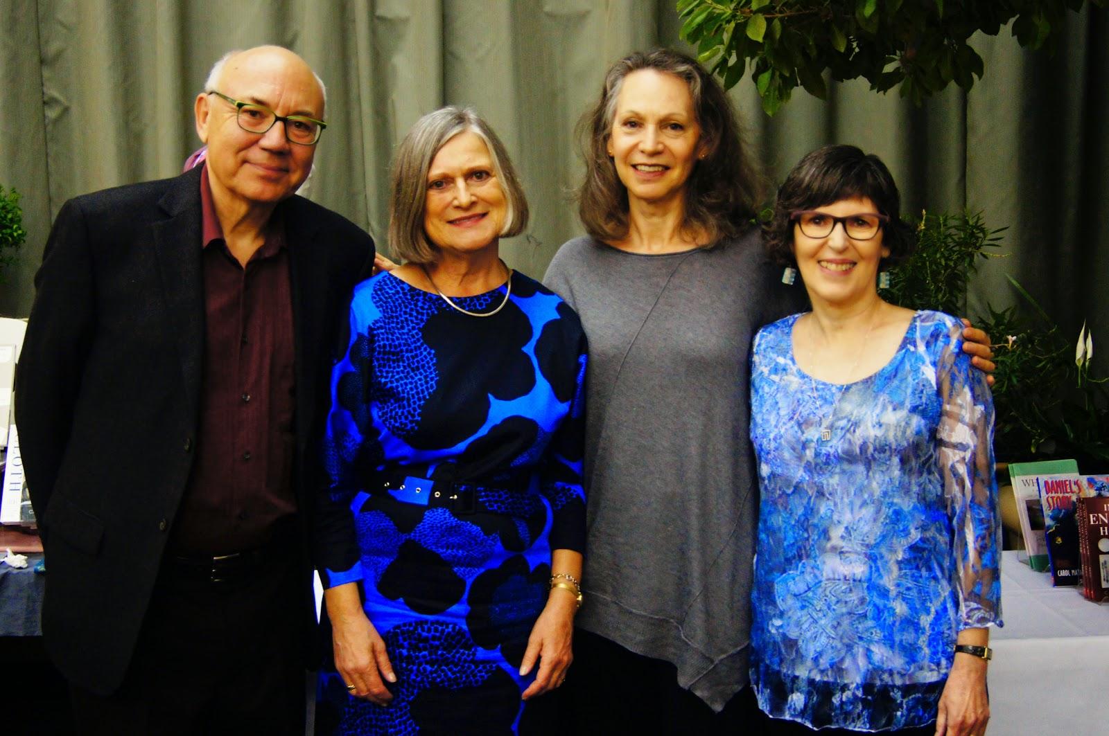 Per Brask, Marianne Olsen, Morri Mostow, Carol Matas at Joint Matas-Brask book launch, Oct. 1, 2014, at McNally Robinson Booksellers, Winnipeg