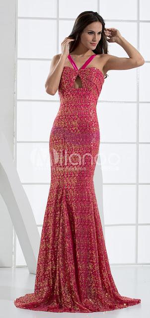 Fuchsia Glitter paillettes col en V Robe de Soirée Ladies