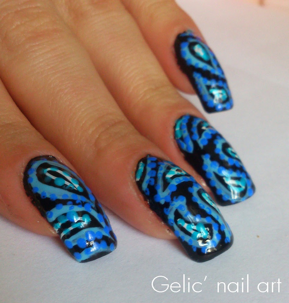 Paisley Nail Art: Gelic' Nail Art: Paisley Nail Art In Black And Blue