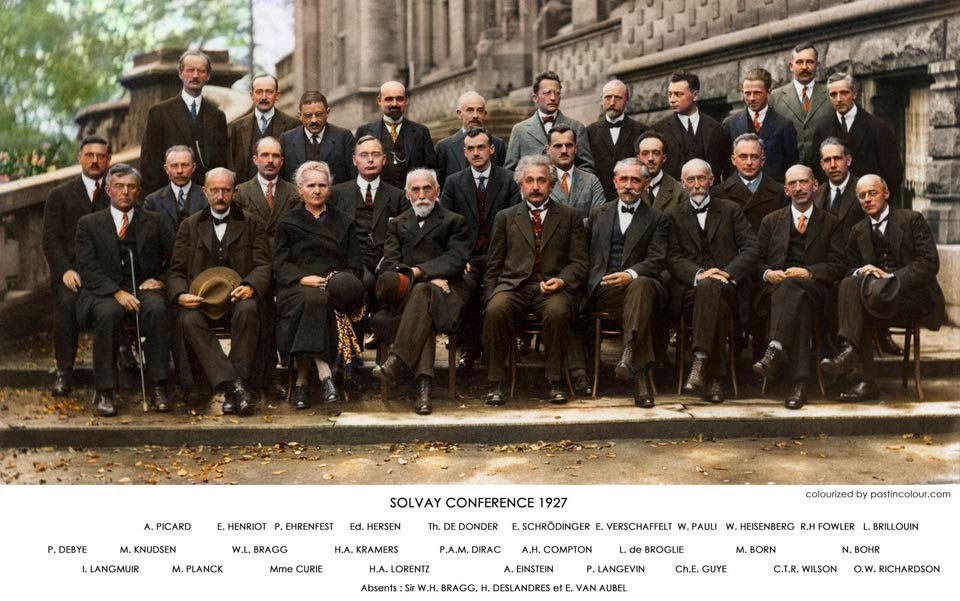 Solvay Conference 1927 - World scientists. Photo by Benjamin Couprie/Wikimedia. Color by Sanna Dullaway