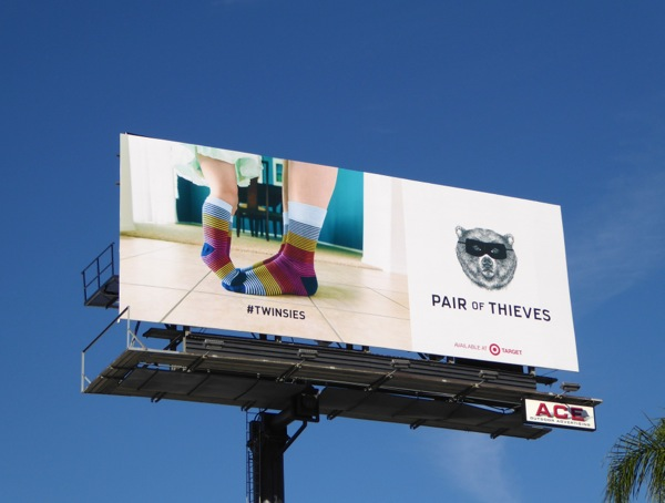 Pair of Thieves socks Twinsies Target billboard