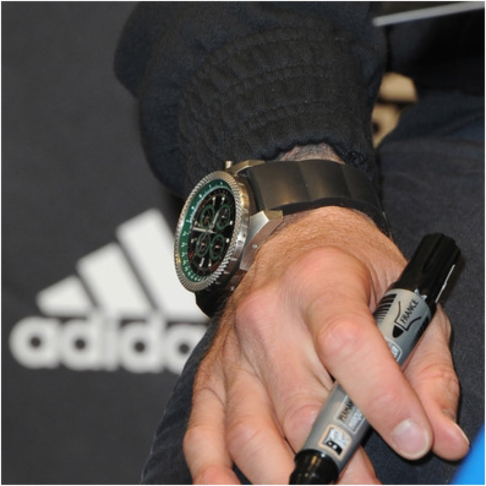 00O00 Menswear Blog David Beckham's Breitling for Bentley watch - Adidas store visit with Zinedine Zidane Paris February 2013