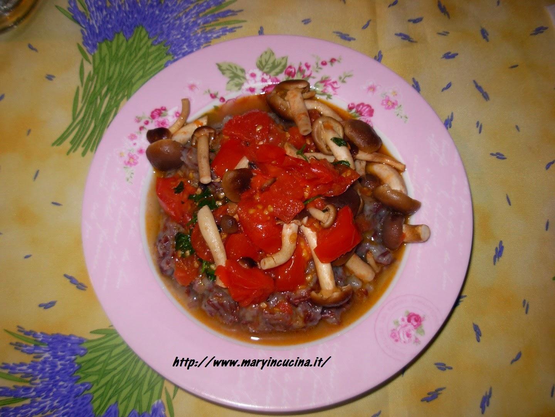 risotto con crema di topinambur e funghetti